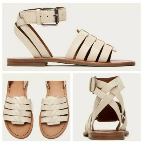 Frye Riley Huarache Leather Off White Sandals 9.5